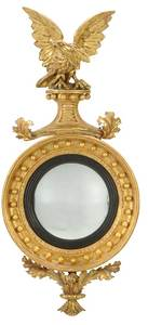 Classical Eagle Gilt Wood Convex Mirror