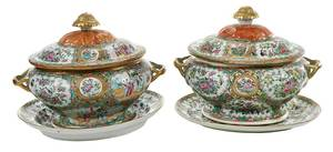 Two Rose Medallion Tureens with Under Plates