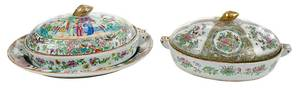 Two Rose Medallion Covered Hot Water Plates