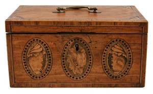 Fine George III Satinwood Inlaid Shell Tea Caddy