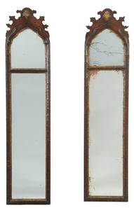 Pair George I Walnut Parcel Gilt Pier Mirrors
