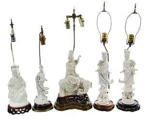 Five Chinese Blanc de Chine Lamps