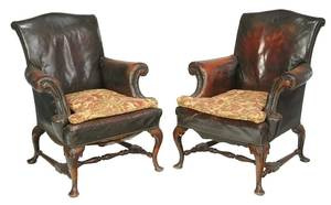 Pair Queen Anne Style Carved Walnut Armchairs
