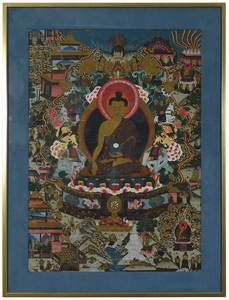 Tibetan Thanka of Seated Buddha