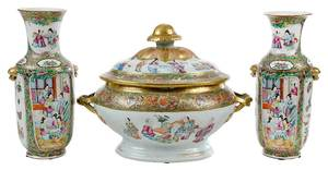 Rose Medallion Covered Tureen, Pair Vases