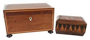 Two Fine Georgian Inlaid Tea Boxes