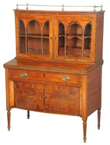 Federal Inlaid Mahogany Desk and Bookcase