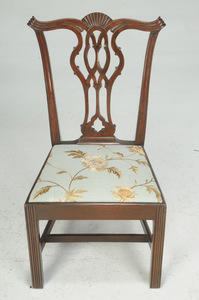Pair Chippendale Carved Mahogany Side Chairs
