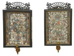 Pair Shellwork, Rolled Paper, Foil Wall Sconces