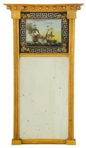 American Federal Carved Gilt Églomisé Mirror