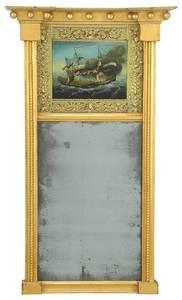 American Federal Carved Gilt Églomisé Mirror