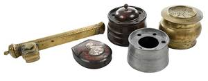 Assorted Wood, Brass Desk Accessories, Toleware