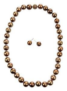 Brown South Sea Pearl Necklace and Earrings