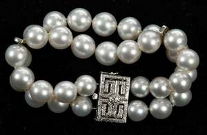 14kt. Gold, Pearl and Diamond Bracelet