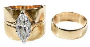14kt. Gold, and Diamond Ring Set