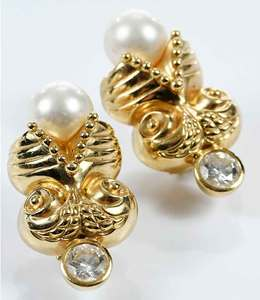 18kt. Gold, Diamond and Pearl Earrings