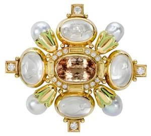 Elizabeth Gage 18kt. Gold and Gemstone Brooch