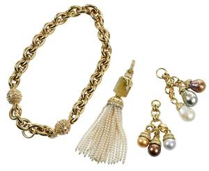 18kt. Gold, Diamond and Pearl Necklace Set