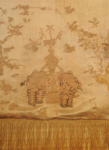 Chinese Silk Embroidered Panel with Elephants