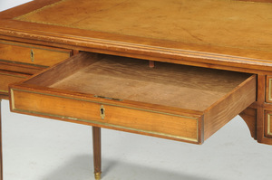 Louis XVI Style Brass Mounted Leather Top Desk