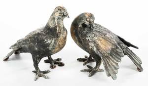 Pair Metal Pigeons