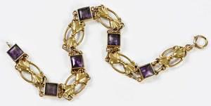 Antique 14kt. Gold Amethyst Bracelet