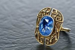 Art Nouveau 14kt. Gold and Sapphire Ring