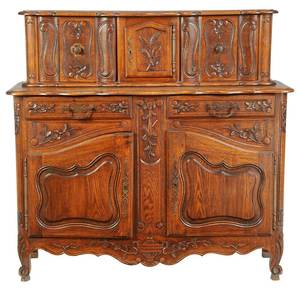 Provincial Louis XV Style Carved Oak Server
