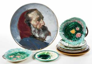 Nine Majolica and Paint Decorated Dishes