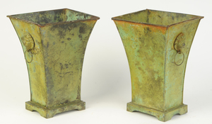 Pair Green Painted Tole Orchid Cachepots