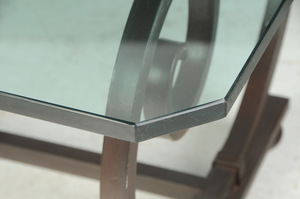 Wrought Iron Glass Top Low Table