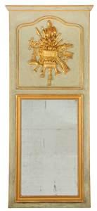 Louis XVI Style Painted Parcel Gilt Trumeau