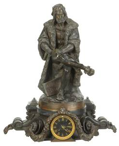 Vieux Paris Marble and Bronze Figural Clock