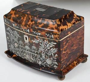 Regency Tortoise Shell Inlaid Tea Caddy