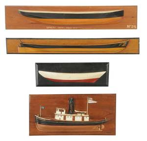 Four Wood Half Hull Ship Models
