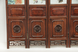 Chinese Six Panel Porcelain Table Top Screen