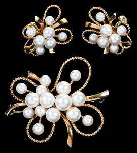 Retro Mikimoto Gold & Pearl Set