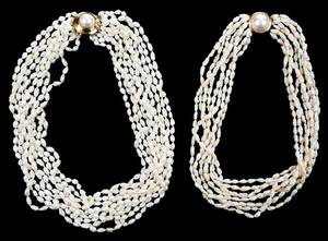 Two Gold Rice Pearl Necklaces