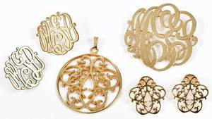 Four Pieces Gold Monogram Jewelry