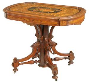 Aesthetic Movement Marquetry Inlaid Center Table