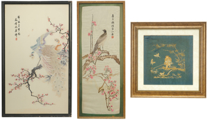 Three Asian Framed Silk Embroideries