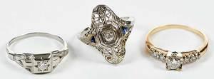 Three Gold & Diamond Rings