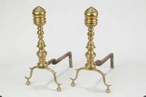 Pair American Classical Brass Andirons