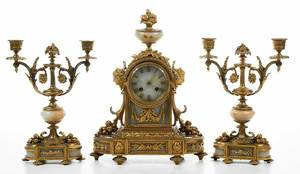Second Empire Ormolu and Onyx Clock Garniture