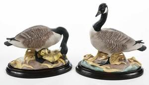 Pair Boehm Porcelain Figural Canada Geese
