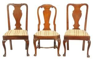 Three George II Carved Mahogany Side Chairs