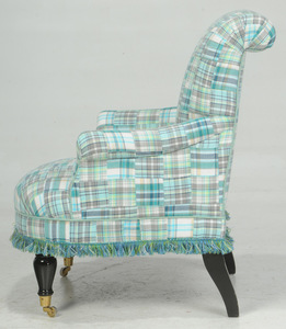 Pair Regency Style Plaid Upholstered Club Chairs