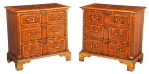 Pair Early Georgian Style Oyster Veneer Chests