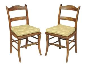 Pair Classical Stencil Decorated Side Chairs