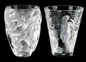 Two Lalique Vases, Martinets and Ondines